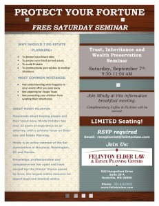 Flyer Sat Seminar 9 7 13 231x300 - Protect Your Fortune: Free Monthly Estate Planning Seminar Series Begins This Week
